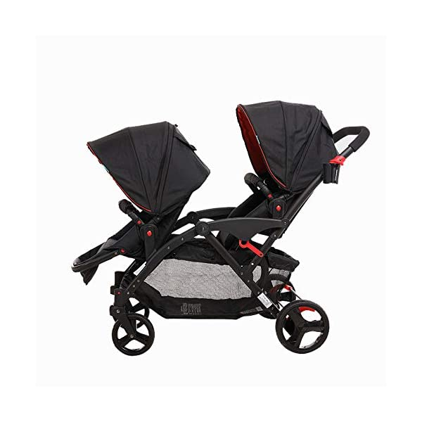 MYRCLMY Double Stroller Twins Baby Stroller,Can Sit And Detachable,Ultralight Portable Folding Backrest Push Handle Double Trolley Jogging Four-Wheel Four Seasons Universal,Black MYRCLMY *TWIN STROLLER: Getting everywhere with two little ones has never been easier, thanks to the Double Strollers; you can glide around town even when you only have one hand free to steer; you can even roll through a standard size doorway. *ADJUSTABLE BACKREST & CONNECTABLE SEATS :The backrest can adjust to fit baby's sleep posture to keep comfortable sleeping. Two seats can be connected to lengthen the seat. *SAFETY WHEELS & 5-POINT SAFETY BELTS:The springs in front wheels absorb shocks for easy to control direction and safety. The 5-point safety belt is equipped with each seat to ensure security while keeping your baby fit to the safety belt to feel comfortable. 1