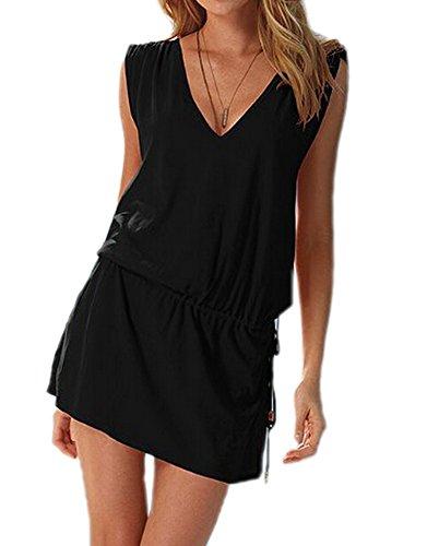 DELEY Femmes col V profond Swim Beach Dress dos ouvert Plage Cover Up Noir