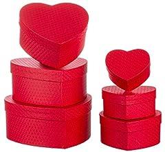 Idea Regalo - Brandsseller Scatola Regalo a Forma di Cuore - in Cartone Robusto - Set da 6 Pezzi in Dimensioni decrescenti, Cartone, Colore: Rosso, 6 Pezzi