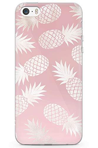 Case Warehouse iPhone 5 / 5s / SE Designer Fashion Rose Gold Ananas Schutz Gummi Handyhülle TPU Bumper Süss Girls Rosa Minimal Stein (Iphone 5 Case Fashion Girl)