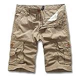 Ginli Pantaloni Corti Bermuda Cargo Pantaloncini Uomo Lavoro Pantaloni Tasconi con Elastico Pantofole Uomini Estive Casual Pantaloncino Sportivi