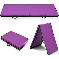 COSTWAY Colchoneta de Gimnasia Deportiva Plegable 180x60x4cm Tapete de Yoga Entrenamiento Alfombrillas de Fitness (Púrpura)