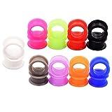 D&Min Jewelry 18er Set 9-Farben Silikon Plug Tunnel Ear Stretcher 3mm-25mm (8)