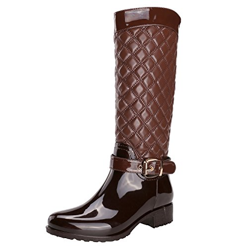 Alexis Leroy Ladies Quilted Knee High Rain Boots Women