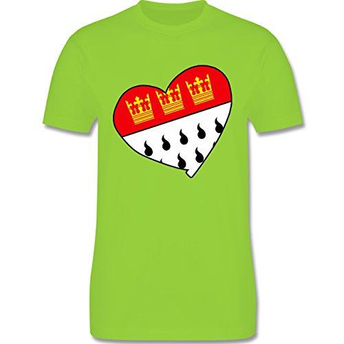 Karneval & Fasching - Köln Wappen Herz - Herren Premium T-Shirt Hellgrün