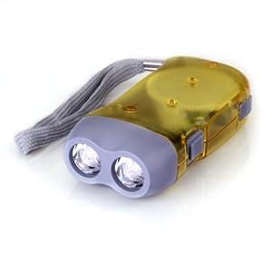 CARCHET® Lampe de Poche Torche Dynamo 2 LEDs Blanc Pour Camping par TOOGOO