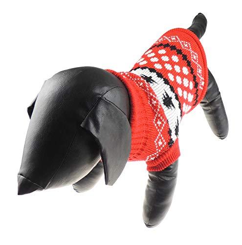 pullover für Hunde und Katzen, Weihnachtsbaum, warm, Rot/Weiß / Schwarz ()
