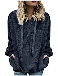 Kobay Women Hoodies,Teddy Bear Hooded Drawstring Pullover Fuzzy Oversize Fluffy Sweater Warm Long Sleeve Outerwear