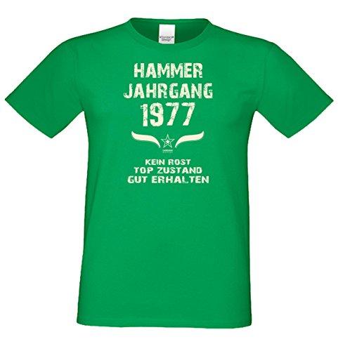 Bequemes 40. Jahre Fun T-Shirt zum Männer-Geburtstag Hammer Jahrgang 1977 Ideale Geschenkidee zum Jubeltag Farbe: hellgrün Hellgrün