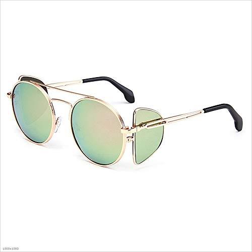 Yiph-Sunglass Sonnenbrillen Mode Sonnenbrillen für Frauen Sonnenbrillen mit Metallrahmen Runde Klassische Unisex-Sonnenbrillen UV-Schutz (Farbe : Gold)
