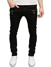Seven Series Branded Mens Skinny Fit Zip Detail Black Jeans, BNWT