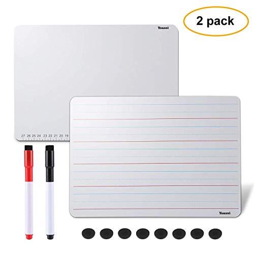 Yoassi 2 x Whiteboard A4 - Kinder Lernen Tragbare Schreibtafel Doppelseitig mit 8 magnetischen Aufklebern und 2 Stift Marker- Lese- und Schreibunterricht/Notizen/Einkauflisten