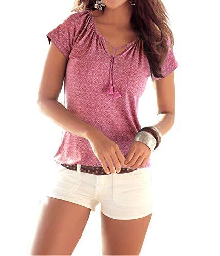 Fleasee Damen T-Shirt wie Locker Neckholder Bluse Allover Druck Shirt Basic Tee Lässig Sommer Oberteile (Rot, Small) - Zusammen Tee
