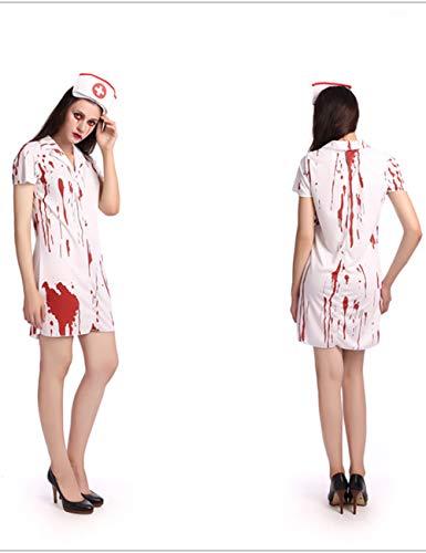 TUTOU Halloween Horrorkostüm, blutiges Geisterkostüm weibliches Geisterkostüm COS blutige Braut Doktor Krankenschwester weibliches Zombie Kostüm - Zombie Doktor Für Erwachsene Kostüm