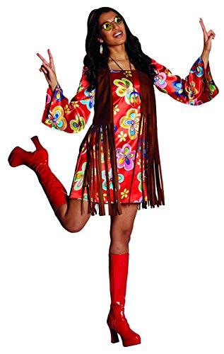 Hippie Kostüm Nancy Größe 44 buntes Kleid mit brauner Weste Flower Power Party 70er Jahre ()