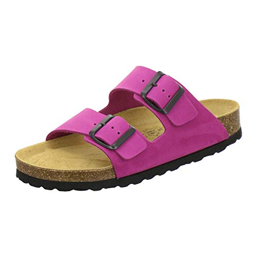 AFS-Schuhe 2100, Bequeme Damen Pantoletten echt Leder, praktische Arbeitsschuhe, Hausschuhe, Handmade in Germany Größe 44 EU Pink (pink)