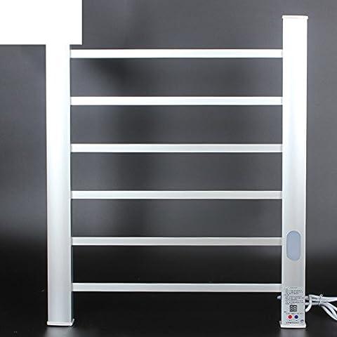 spazio alluminio elettrico portasciugamani riscaldato/Casa intelligente temperatura interna riscaldata porta asciugamani/ luce stendino-argento