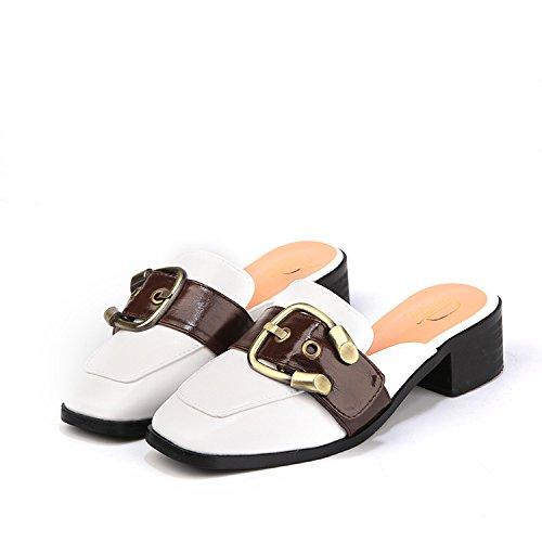 ZYUSHIZ Western Damen Schuhe Baotou Hausschuhe Zentrale Wild flache Unterseite Freizeitaktivitäten Sandalen Hausschuhe 35EU