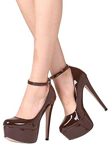 Guoar High Heels Große Größe Abendschuhe Geschlossene Toe Lack Schnalle Ankle Strap Pumps mit Plateau Club Party Hochzeit Braun