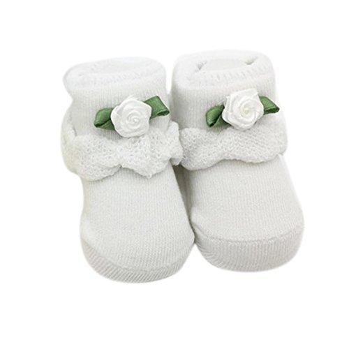 Blumen Babysocken, FNKDOR Baby Mädchen Gekämmte Baumwolle Elastizität Söckchen (Weiß)