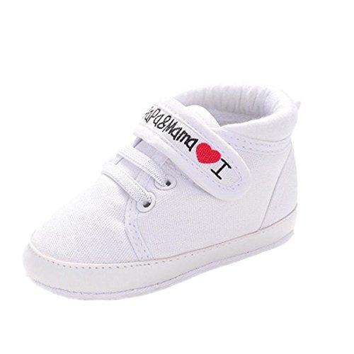 Preisvergleich Produktbild Ularmo Schuhe für 0-18 Monate Baby, Weiche Sohle Kleinkind-Schuhe Segeltuch-Turnschuh (11cm(0-6 Monate), Weiß)