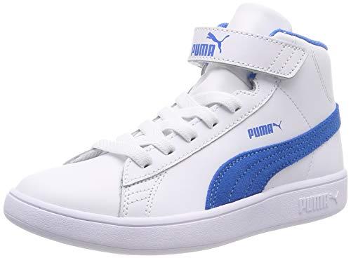 Puma Unisex-Kinder Smash v2 Mid L V PS Hohe Sneaker, Weiß (Puma White-indigo Bunting), 35 EU