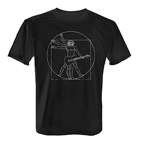 Fashionalarm Herren T-Shirt - D. Vinci Guitar Man | Fun Shirt als Geschenk Idee für Musiker Da, Farbe:schwarz;Größe:L -