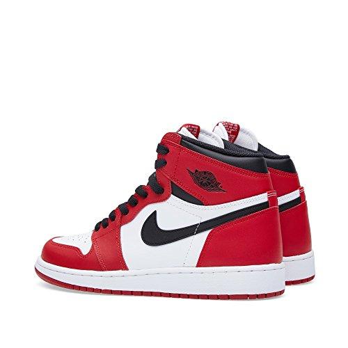 Nike Jungen Air Jordan 1 Retro High OG BG Basketballschuhe Weiß / Schwarz / Rot (Weiß / Schwarz-Varsity Red)