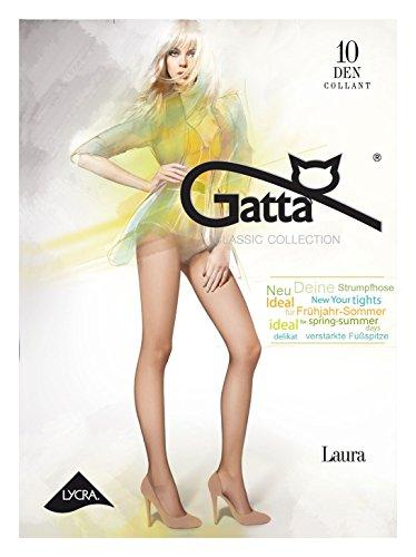 Gatta Laura 10den - elegante dünne halbmatte transparente Feinstrumpfhose aus Lycra mit verstärktem Miederteil - Höschen - Größe 4-L - Beige 0.187