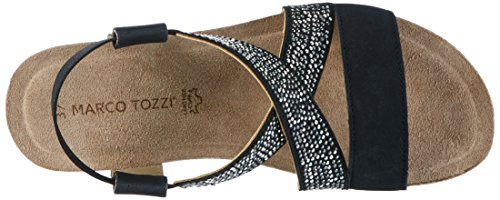 Marco Tozzi 28734, Sandales Compensées Femme Noir (noir 001)