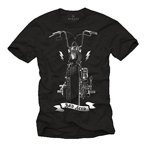 Maglietta motociclista - t-shirt con stampa moto chopper harley uomo - sons of anarchy nera xl