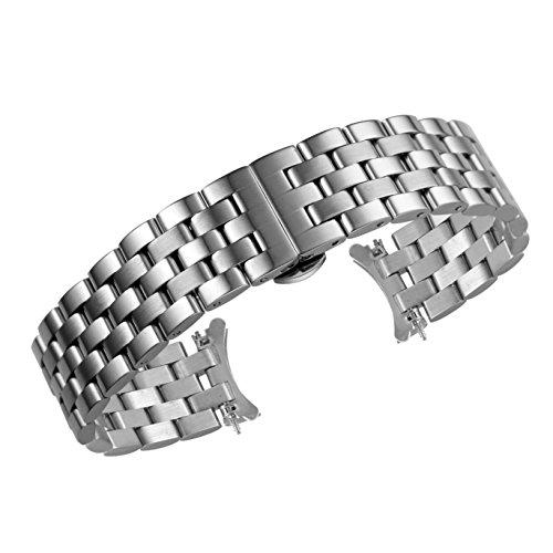20mm High-End gekrümmte Ende Metall Uhrenbänder Ersatz Silber versilberten Qualität solide Edelstahl