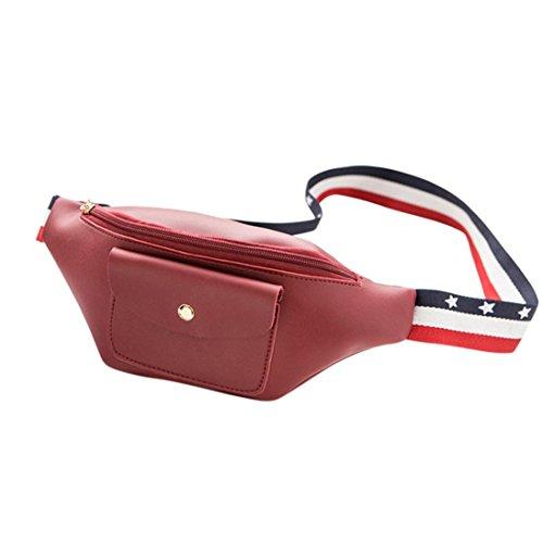 VJGOAL Damen Bauchtasche, Damen Männer Fashion Party Shopping Urlaub Einfarbig Reißverschluss Hüfttasche Telefon Brust Kleine Tasche Geschenke (Rot) (Fendi Canvas Handtasche)