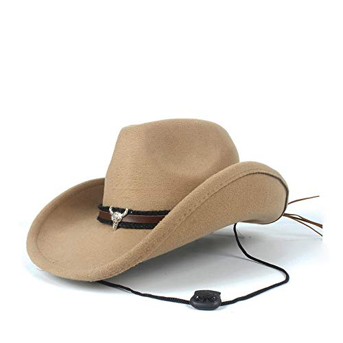Filzhüte Caps & Kopfbedeckungen Frauen Männer Wolle Hollow Cowboy-Hut für Gentleman Fedora Sombrero Cap Papa Hut Für Kostüm Kostüme Zubehör (Farbe : Beige, Größe : 56-59cm)
