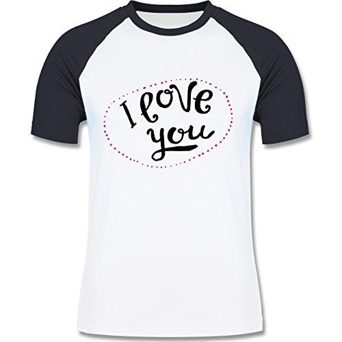 Valentinstag - I Love You Herzen aus Bällen - zweifarbiges Baseballshirt für Männer Weiß/Navy Blau