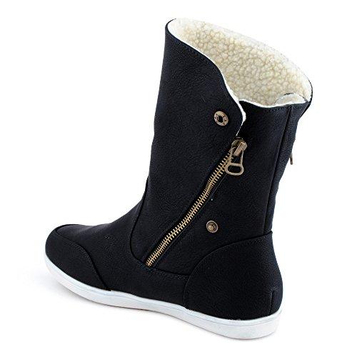 Fusskleidung Damen Boots Flach Gefütterte Schlupf Stiefel Stiefeletten Schwarz EU 37