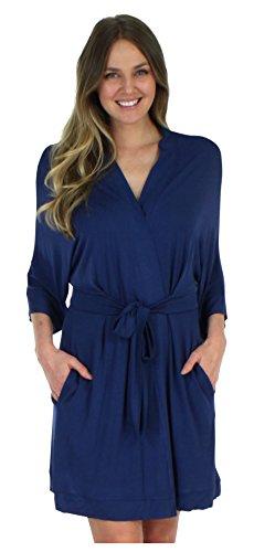 Blau-x-large Kurz (Pyjama Heaven Damen Nachtwäsche, leicht, Bambus, Kimono, Kurze Umhüllung, mit Taschen - Blau - Large/X-Large)
