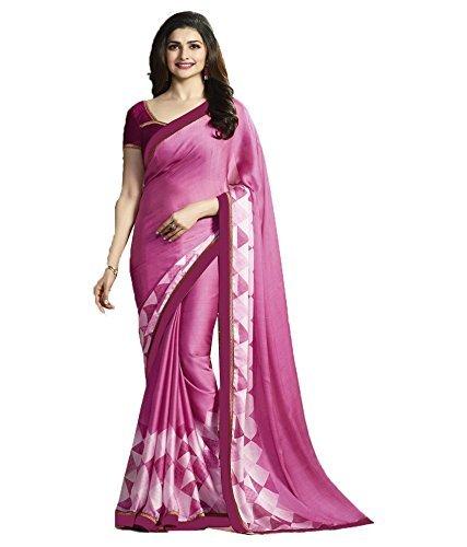 Sareeshop Georgette Saree (Pink , Free Size)