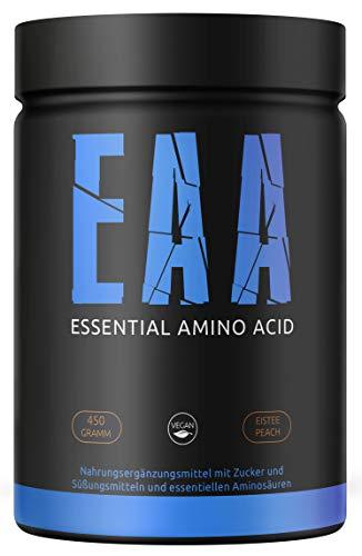 GYM-NUTRITION® - EAA Pulver - Essentielle Amino-Säuren - Essential Amino Acids - EAAs Aminosäuren-Komplex Powder - vegan, hochdosiert, Made in Germany - 450-g, Geschmack: ICE-TEA PEACH Plus Gratis Shaker