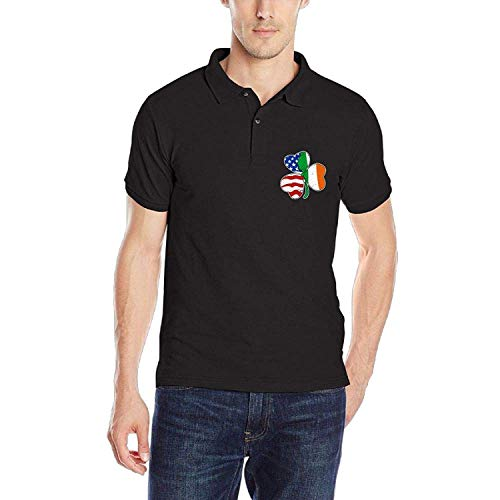 POLOPIN Shamrock Irish American Herren Polo-Shirt Classic Schnelltrocknend Golf Dad Polo-Shirt, L -