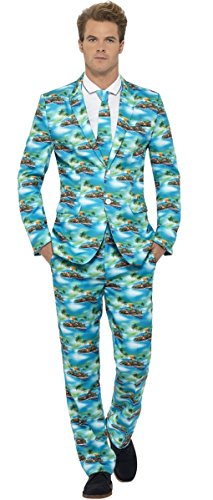 Mens Hawaiian Stand Out Suit Tropical Island Hawaii Holiday Fancy Dress Costume Outfit M-XL (Medium) (Mens Hawaiian Fancy Dress Kostüm)