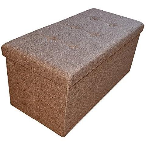 stylehome® Asiento banco Puff con caja soporte Banco taburete plegable Soporta Lino Selección de Colores Tamaño Selección 2676–12de color marrón