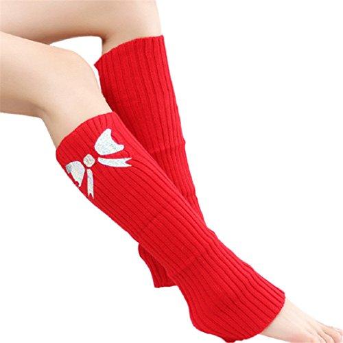 Vovotrade ❤❤Hot!!! Women Winter Warm Knit Crochet High Knee Leg Warmers Leggings Boot Socks (Womens Boots High Red Knee)