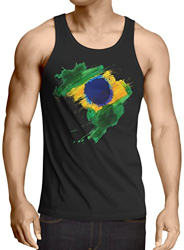 CottonCloud Flagge Brasilien Herren Tank Top Fußball Sport Brazil WM EM Fahne, Größe:L, Farbe:Schwarz