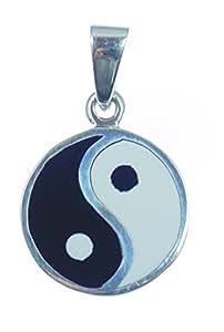 Le yin et le yang argent sterlling pendentif symbole des dualität de vie et de solidarité tous vie