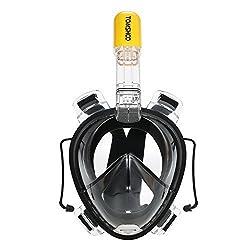 TOMSHOO Easybreath Tauchmaske Vollgesichtsmaske Schnorchelmaske mit Action Kamera Halterung,Anti Fog Schnorchel Maske Seaview 180 Degree (Schwarz, L/XL)