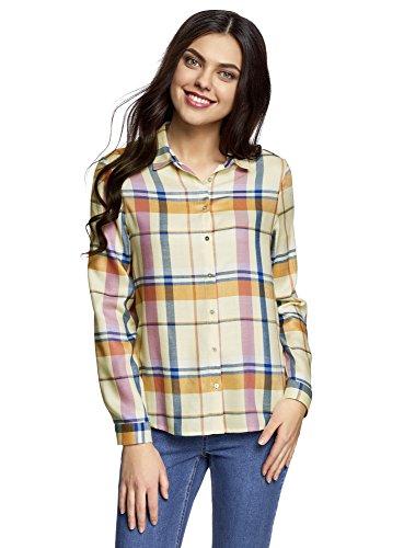 oodji Ultra Mujer Blusa Estampada de Viscosa, Amarillo, ES 34 / XXS