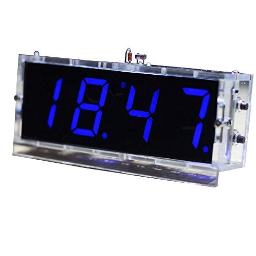 KKMOON Kompakte 4-stellige DIY LED Digitaluhr Kit Light Control Temperaturanzeige Datum Zeit mit transparenten Etui (Blau) -