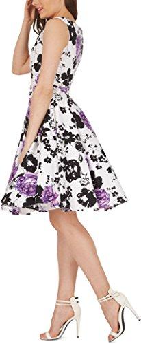 Black Butterfly 'Audrey' Vintage Serenity Kleid im 50er-Jahre-Stil (Weiß & Lila, EUR 52 – 5XL) - 2