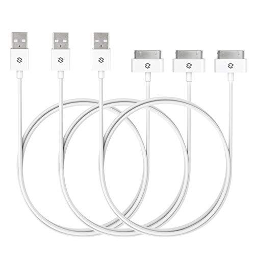 JETech J0166 Câble 30 Pin vers USB pour iPhone 4s 4, iPhone 3G 3GS, iPad 1 2 3, iPod et autre, Sync Data USB, 1m, Blanc, Lot de 3
